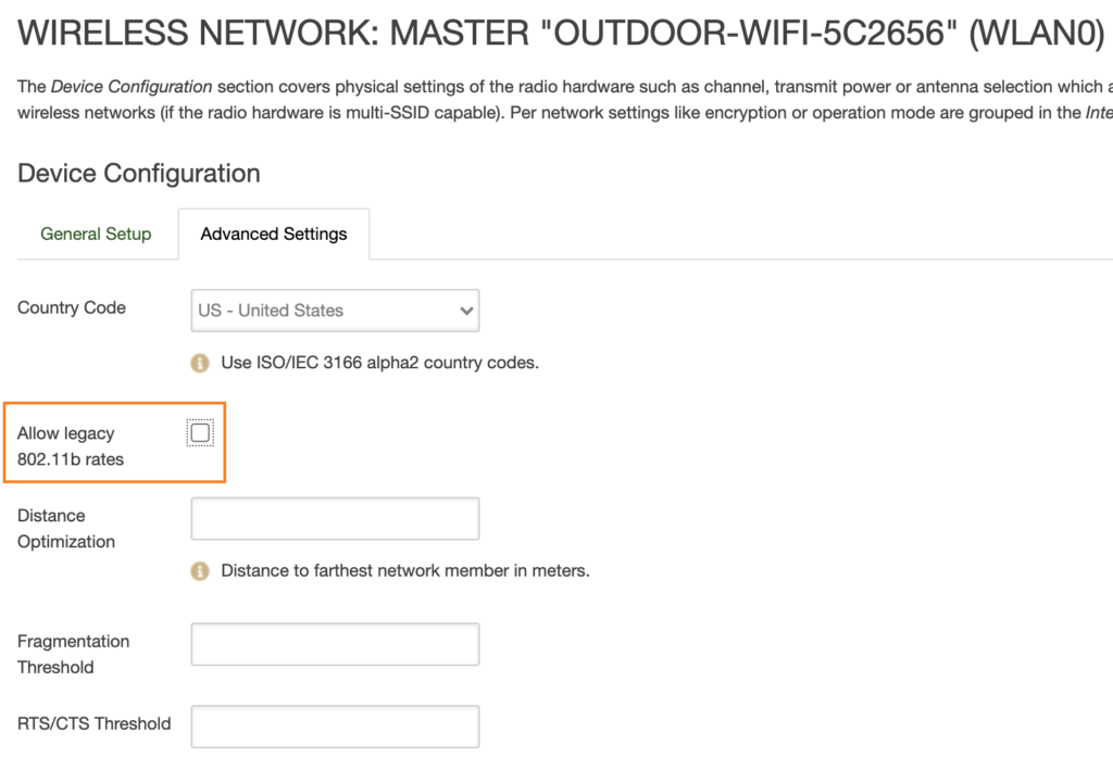 Disable 4G WiFi Legacy Rates on 4G LTE Routers